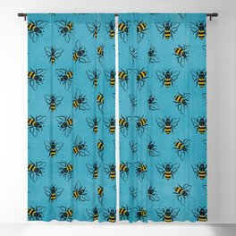 Save the bees (in blue) Blackout Curtain