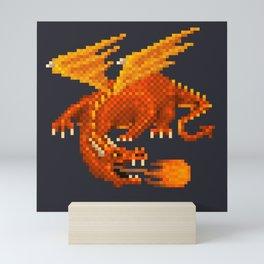 Pixel Fiery Dragon Mini Art Print