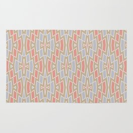 Tribal Diamond Pattern in Peach, Tan and Gray Rug