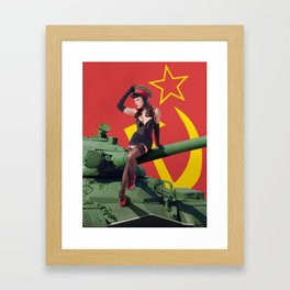 """""""Sovietsky by Land"""" - The Playful Pinup - Russian Tank Pin-up Girl by Maxwell H. Johnson Framed Art Print"""