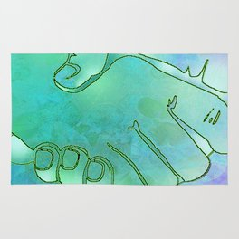Cargiver Hands Blue and Green Harmony Rug