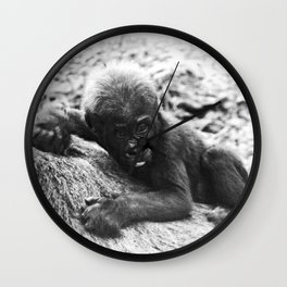 Baby Gorilla Riding Mother's Back Vintage Black and White Look Wall Clock