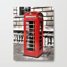 Seedy Whitehall Phonebox Metal Print