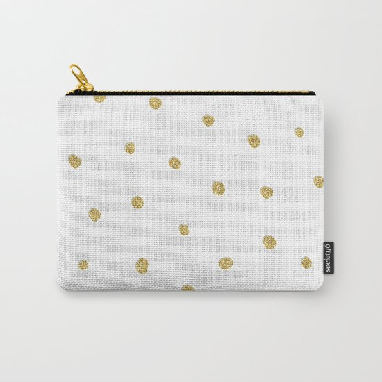 Golden touch I - Gold glitter small polkadots pattern- Confetti on #Society6 Carry-All Pouch