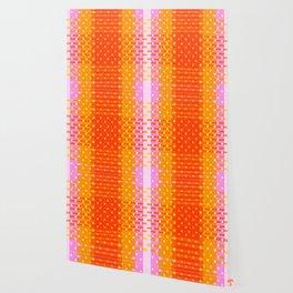 Tangerine, Persimmon & Bubble Gum Pink Pixel Party Wallpaper