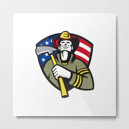 American Fireman Firefighter Emergency Worker  Metal Print