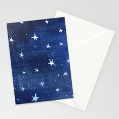 Midnight Stars Night Watercolor Painting by Robayre Stationery Cards