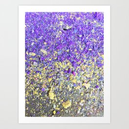 Chalk Dust Confetti Purple and Yellow Art Print