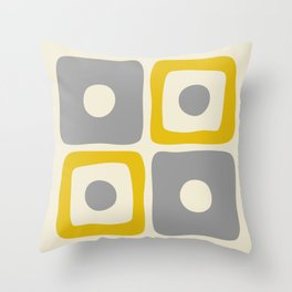 Mid Century Modern Square Dot Pattern 592 Yellow and Gray Throw Pillow