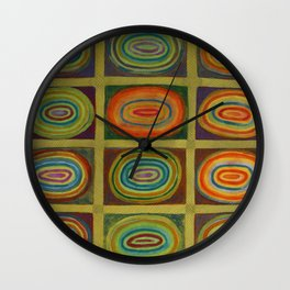 Ringed Ovals within Hatched Grid Wall Clock