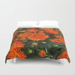 Orange Fall Mums Duvet Cover