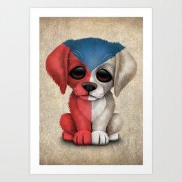 Cute Puppy Dog with flag of Czech Republic Art Print