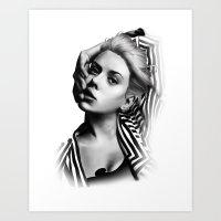 lip Art Prints featuring Pulling Lip by BeckiBoos