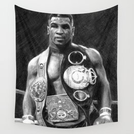 Mike Tyson Pencil Drawing Wall Tapestry