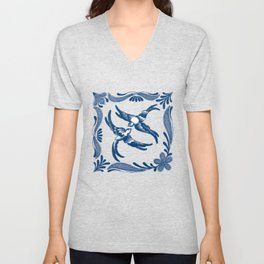 Blue and white swallows birds chinoiserie china porcelain toile asian ginger jar delft pattern Unisex V-Neck
