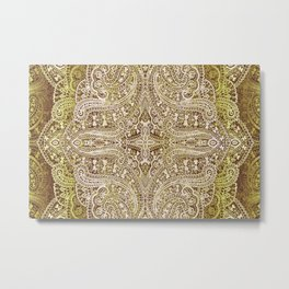 paisley lace tulip in light lime Metal Print