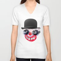 clown V-neck T-shirts featuring Clown by Ahmet Hacıoğlu