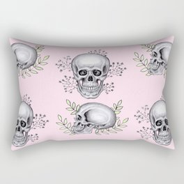 Skull with florals on pink Rectangular Pillow