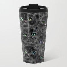 Black Kitten Faces Metal Travel Mug