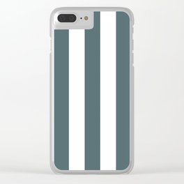 Stormcloud grey - solid color - white vertical lines pattern Clear iPhone Case