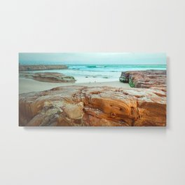 Orange and Teal Rocky Aussie Coast Metal Print