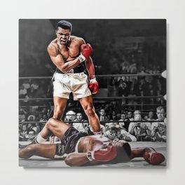 Mama Said I'm Gonna Knock You Out - Ali Knocks out Liston B&W over Color Painting Metal Print