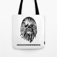 chewbacca Tote Bags featuring Chewbacca by C Liza B