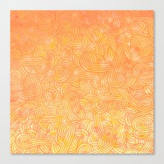 Ombre yellow and orange swirls doodles Canvas Print