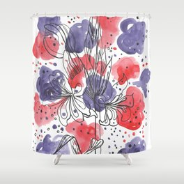 Red and purple Shower Curtain