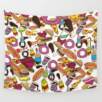 junk food Wall Tapestries featuring Cartoon Junk food pattern. by Nick's Emporium