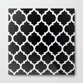 Moroccan Black and White Lattice Moroccan Pattern Metal Print