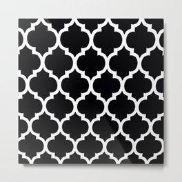 Moroccan Black and White Lattice Moroccan Pattern Metal Print