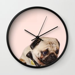 Party pug puppy print Wall Clock