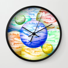 Illustration of watercolor round planet Wall Clock