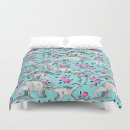 Dinosaurs and Roses - turquoise blue Duvet Cover