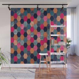 Colorful Honeycomb Wall Mural