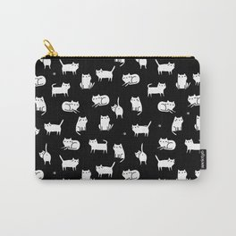 White cats on black Carry-All Pouch