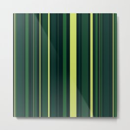 Yellow and Shades of Green Stripes Metal Print