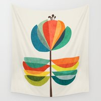 whimsical Wall Tapestries featuring Whimsical Bloom by Picomodi
