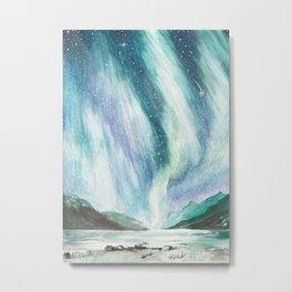 Aurora (northern lights) watercolor painting Metal Print