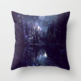 A Cold Winter's Night Midnight Blue Winter Wonderland Throw Pillow