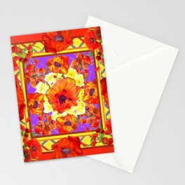 ART DECO ORANGE-RED POPPIES DECORATIVE  PATTERNS Stationery Cards