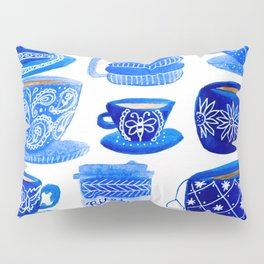 Coffee Mugs and Tea Cups - A study in blues Pillow Sham