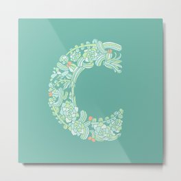 Floral Type - Letter C - Potted Cactus Metal Print
