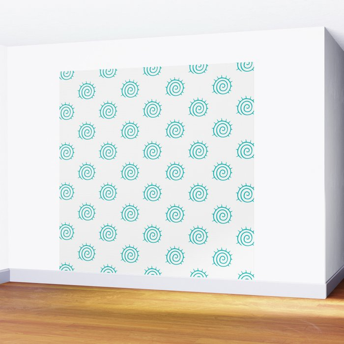 Aqua Spiral Abstract Pattern Wall Mural