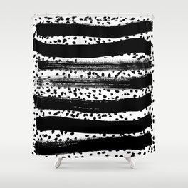 Iver - black and white minimal painting abstract art brooklyn trendy urban street city art work  Shower Curtain