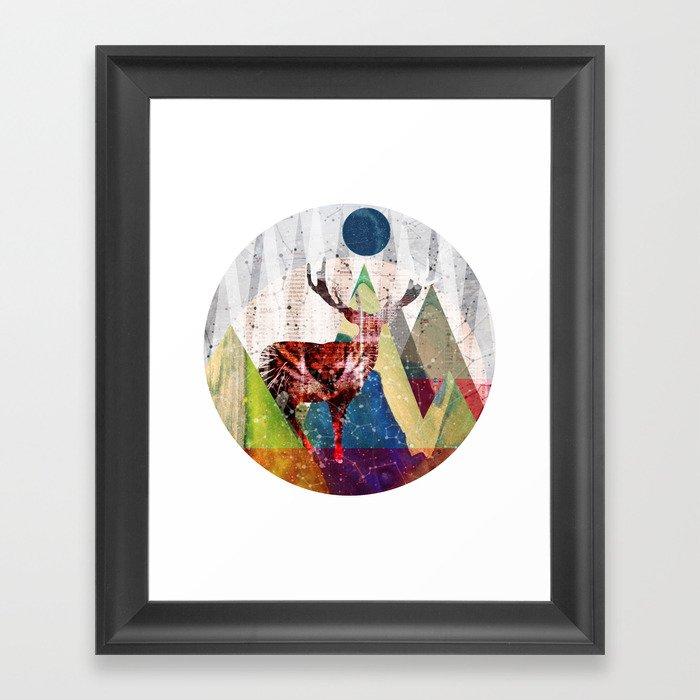 Wonder Wood Dream Mountains - Red Deer Dream Illusion 2 Framed Art Print