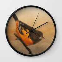 baltimore Wall Clocks featuring Baltimore Oriole by Photography and Fine Art by Pamela