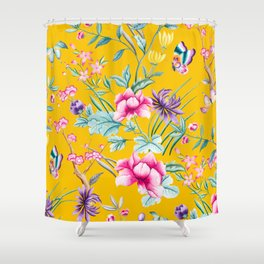 Chinoiserie mustard yellow floral Shower Curtain