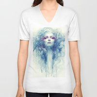 oil V-neck T-shirts featuring Oil by Anna Dittmann